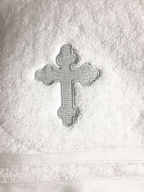 Embroidered Baptismal Towel (Bath Size): Silver Cross