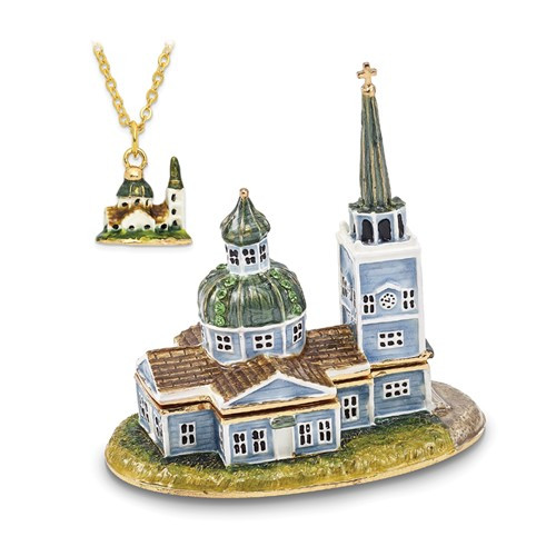 Bejeweled Sitka Orthodox Church Trinket Box with Bonus Charm