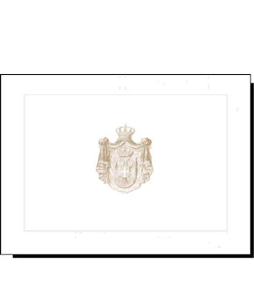 Serbian Crest Raised Linen Note Cards- Set of 10: Gold