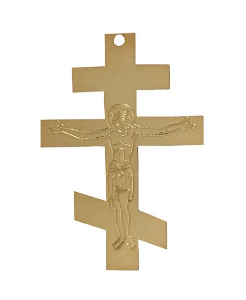 Gold Tri-Bar Cross Ornament