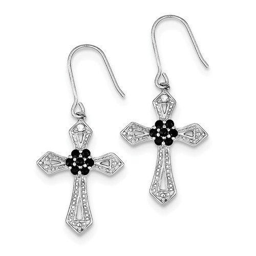 Sterling Silver Diamond Accent Cross Earrings