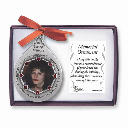 Pewter Teardrop For Her Memorial 1.5 inch Photo Ornament