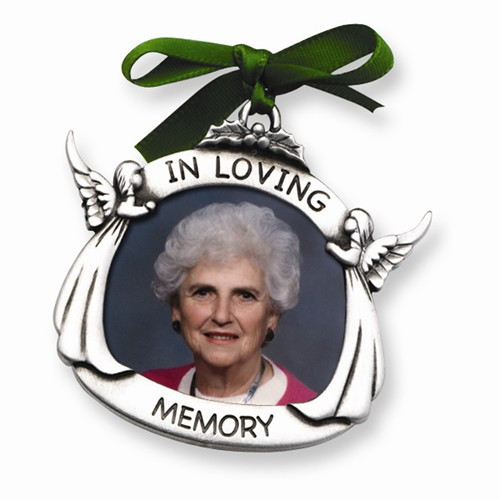 """Pewter Memorial 1 1/2"""" x 1 3/4"""" Photo Frame Ornament"""