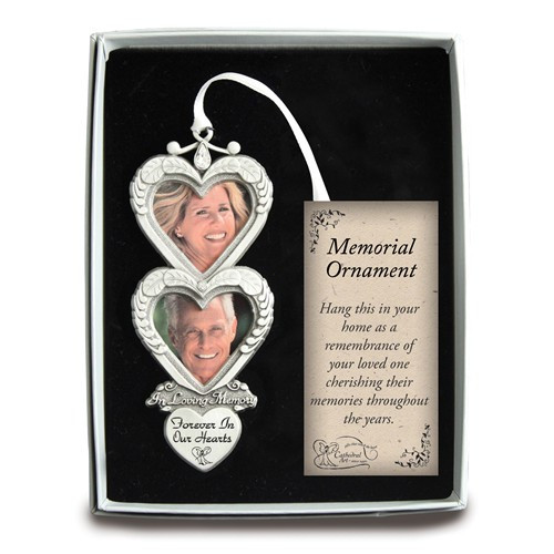 Forever In Our Hearts Silver-tone Memorial Double Heart Photo Ornament