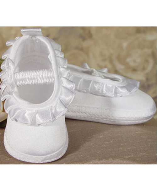 Girls Satin Shoes with Pleated Ribbon