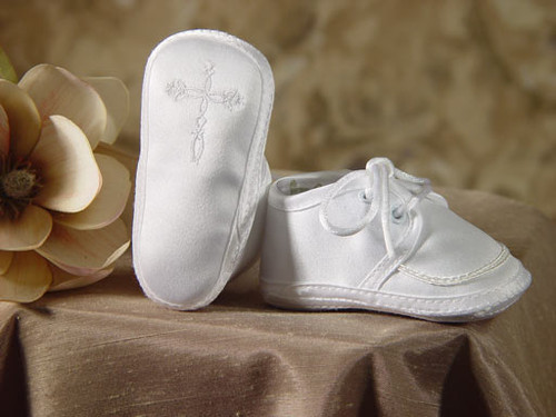 Boys Matte Satin Embroidered Christening Shoes