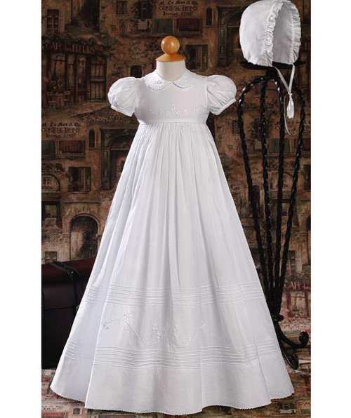 "32"" Short Sleeve Baptismal Gown with Floral Embroidery"