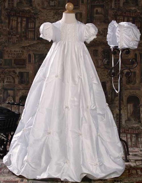 Tucked Silk Dupioni Baptismal Gown