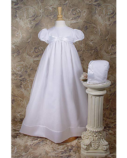 "31"" Organza Baptismal Gown w/ Satin Ribbon Accents"