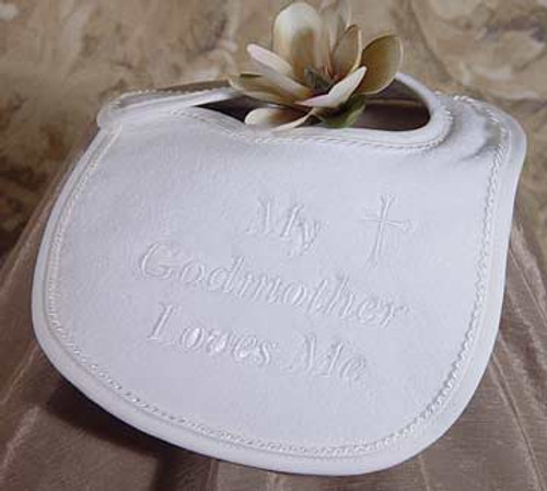 "White Velour ""My Godmother Loves Me"" Bib"