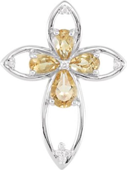 "Citrine & .036 CTW Diamond Sterling Silver Cross Pendant- 1"""