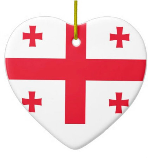 Republic of Georgia Flag Heart Ornament