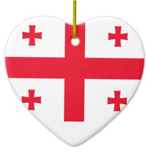 Republic of Georgia Flag Heart Ornament