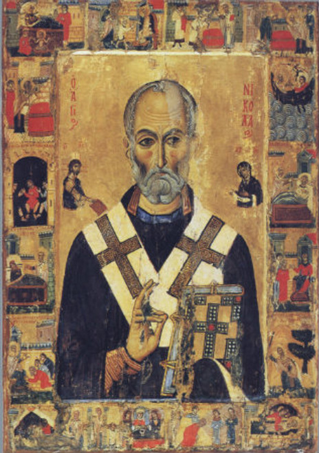 St. Nicholas Icon with Scenes- Icon III