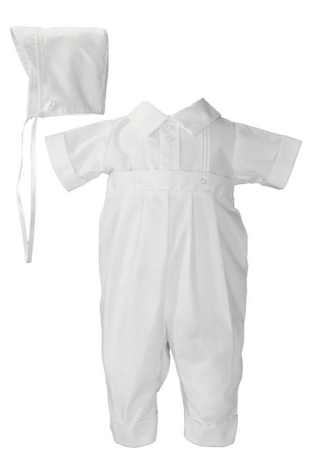 Boys Polycotton One Piece Baptismal Outfit w/ Pintucking