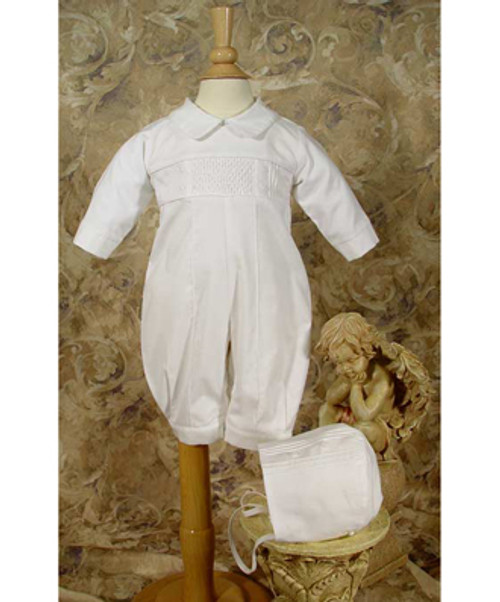 Boys Hand-smocked Pintucked Coverall