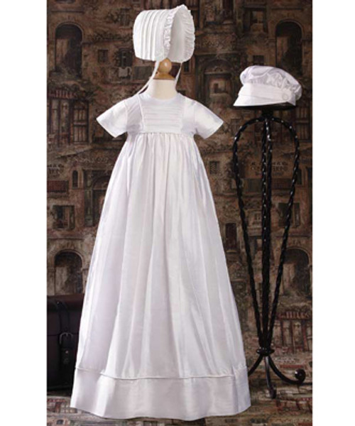 Unisex Short Sleeve Silk Dupioni Baptismal Gown