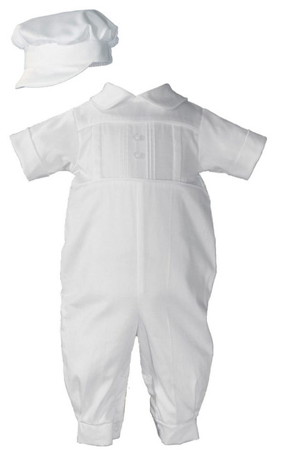 Boys Pleated Coverall with Embroidered Shamrock Cluster