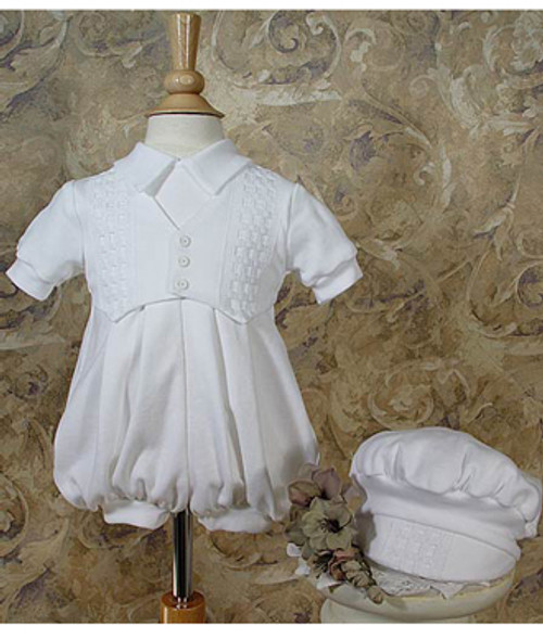 Boys Long White Celebration Short-Sleeve Set with Hat