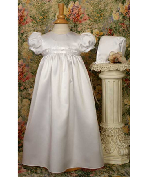"24"" Satin Baptismal Gown w/ Rosettes"