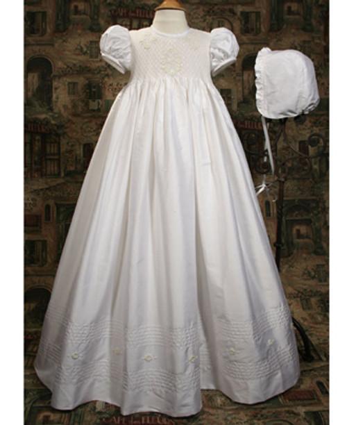 "32"" Silk Dupioni Gown with Smocked Bodice"