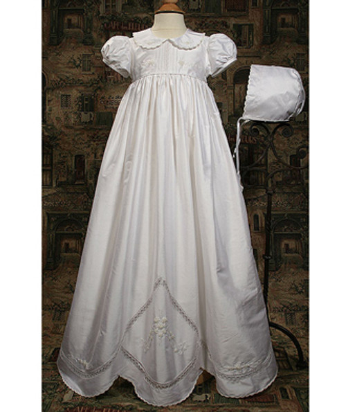 """32"""" Silk Dupioni Gown with Hand Embroidery"""