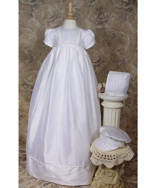 "33"" Short Sleeve Silk Dupioni Family Baptismal Gown w/2 Hats"