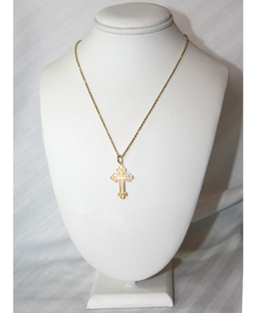 "14KYG Greek Byzantine Style Baptismal Cross- 1 3/8"""