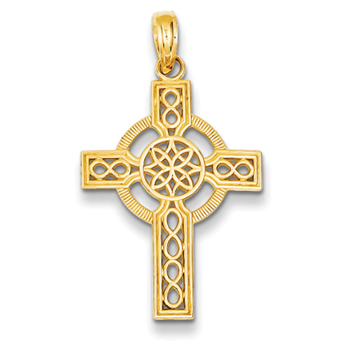 14KT Diamond-Cut Celtic Cross Pendant