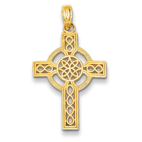 14KT Diamond-Cut Celtic Cross Pendant