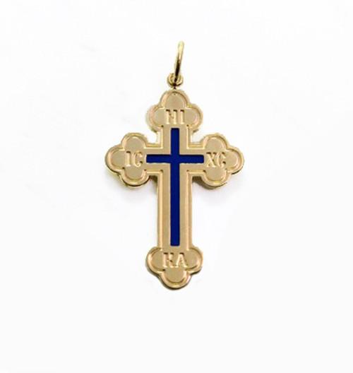 """14KT Greek Byzantine Style Baptismal Cross w/Blue Enamel: 1 3/8"""""""