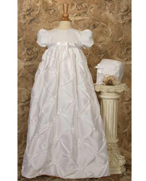"31"" Polyester Taffeta Baptismal Gown w/ Rosettes"