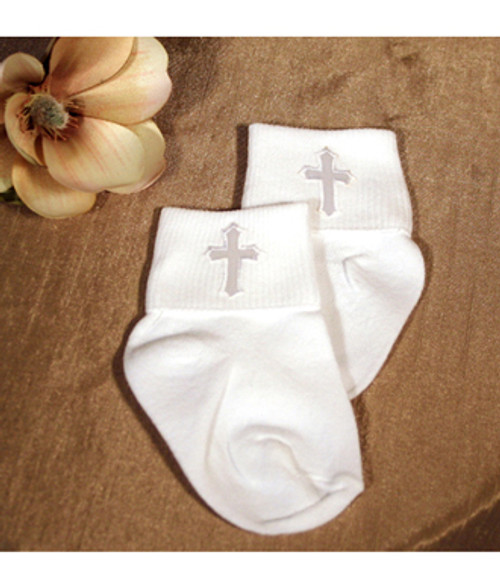 Boys Embroidered Cross Christening Socks