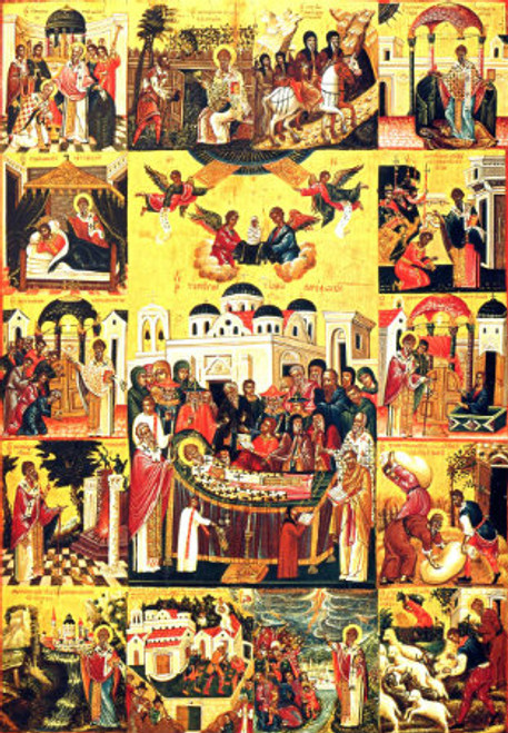 St. Spyridon Icon with Scenes