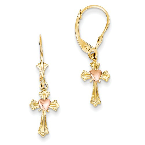 14KT with Rose Gold Cross Leverback Earrings