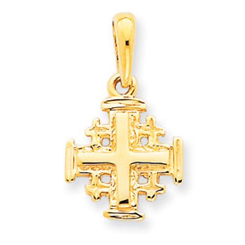 """14KT Jerusalem Style Cross- 1/2"""""""
