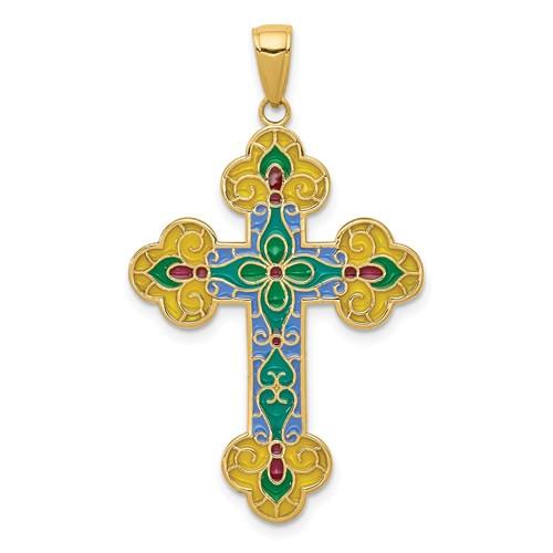 "14KT Enameled Byzantine Cross- 1 1/2"""