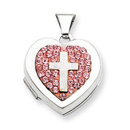 Sterling Silver Heart Locket with Rose Crystals and Cross