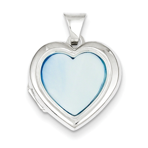 Sterling Silver & Blue Mother of Pearl Cross Locket: Heart Shaped