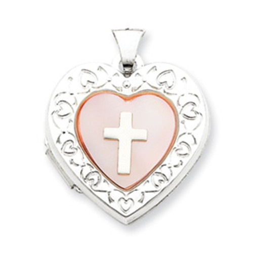 Sterling Silver & Mother of Pearl Cross Locket: Heart Shaped with Border
