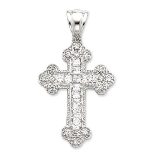 "Sterling Silver and CZ Byzantine Cross- 2 1/2"""