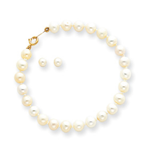 14KT Baby Cultured Pearl Bracelet & Screwback Earrings Set