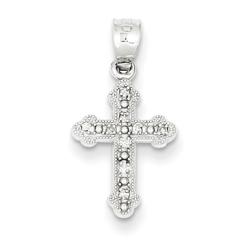 14KWG Genuine Diamond Byzantine Cross Pendant- 1/2""