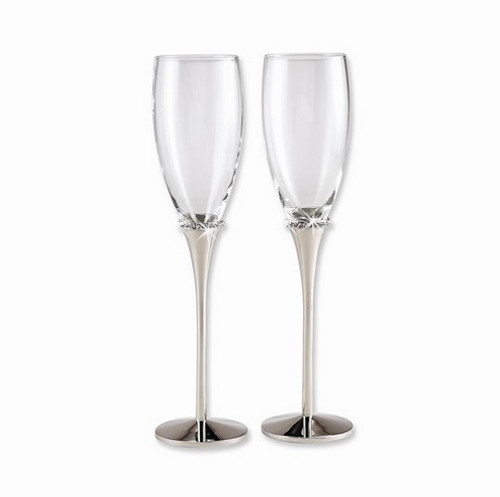 Nickel-Plated with Crystal Toasting Flutes- Set of 2