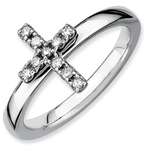 Sterling Silver and Genuine Diamond Cross Ring