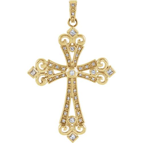 "14KT Genuine Diamond Elaborate Cross Pendant- 2 3/16"""