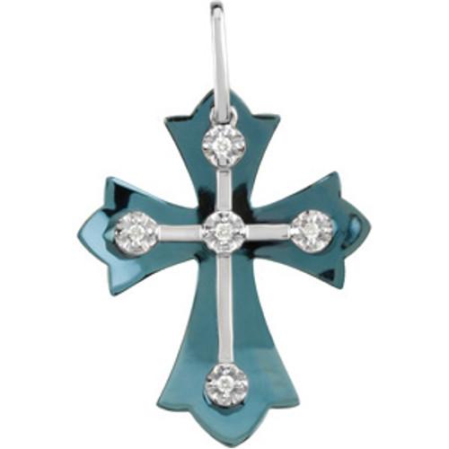 Genuine Diamond and Aqua Titanium Cross
