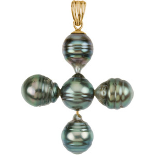 14KT & Genuine Tahitian Pearl Cross- 1 1/4""
