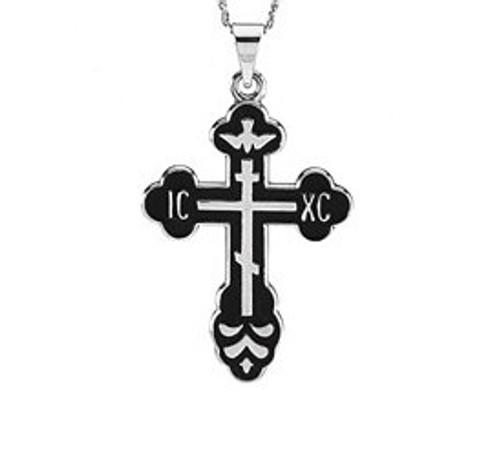 Sterling Silver St. Xenia Style Cross with Black Enamel