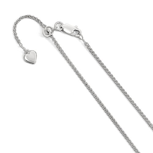 Sterling Silver 1.5 MM Spiga (Wheat) Chain- Adjustable Lengths to 22""